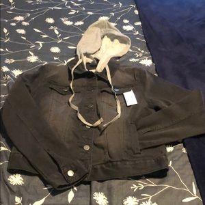 Dark grey denim jacket with detachable hood